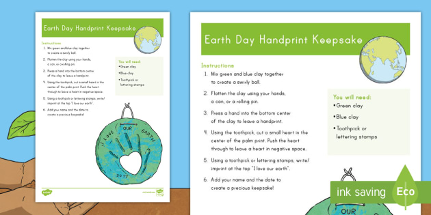Earth Day Handprint Keepsake Craft Instructions - Earth Day, craft, clay, keepsake, handprint, craft, palm print, save the planet, environment, eco