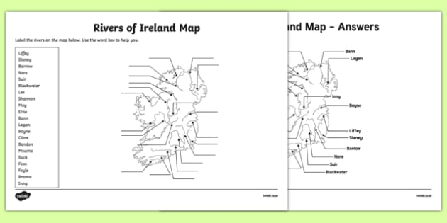 Map Of Ireland With Rivers.Rivers Of Ireland Map Worksheet