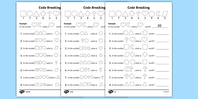 place value code breaking worksheet worksheet pack worksheet. Black Bedroom Furniture Sets. Home Design Ideas