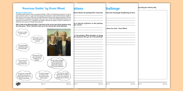 American Gothic by Wood Art Appreciation Activity Sheet - American Gothic, wood, art, activity, sheet, worksheet