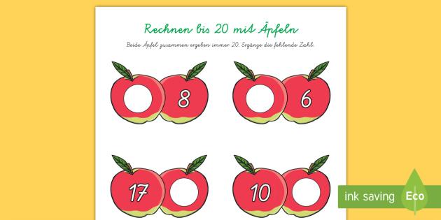 Äpfel Arbeitsblatt: Addieren bis 20 - Mathematik, Addition