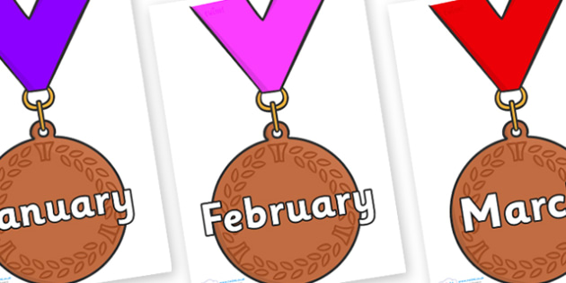 Months of the Year on Bronze Medal - Months of the Year, Months poster, Months display, display, poster, frieze, Months, month, January, February, March, April, May, June, July, August, September