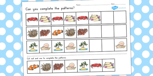 Great Barrier Reef Complete the Pattern Worksheets - australia