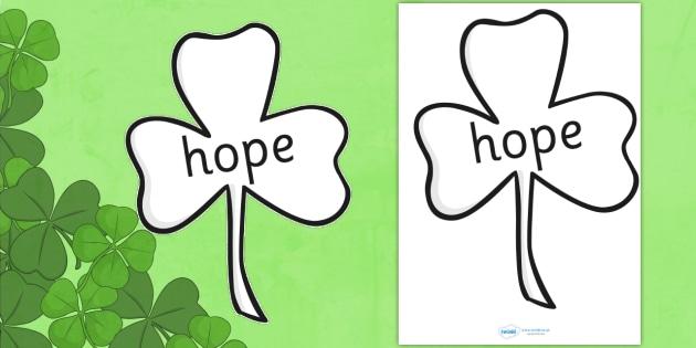 Fill a Shamrock With Hope Activity - shamrock, st patricks day