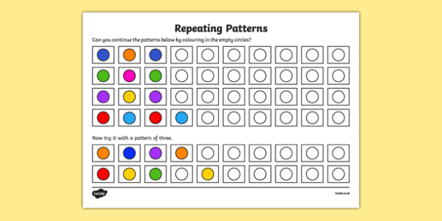 pattern worksheet worksheet copy recognise and repeat patterns up to 3. Black Bedroom Furniture Sets. Home Design Ideas