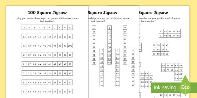 100 Square Jigsaw Worksheet / Worksheets - 100 Days of