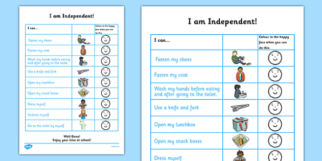 I Am Independent: School Preparation Checklist for Children - checklist