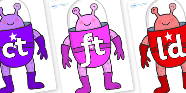 Final Letter Blends on Alien - Final Letters, final letter, letter blend, letter blends, consonant, consonants, digraph, trigraph, literacy, alphabet, letters, foundation stage literacy