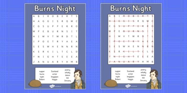 Burns Night Wordsearch - burns night, wordsearch, words, burns