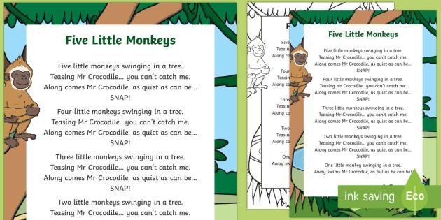 FREE! - Five Little Monkeys Nursery Rhyme Poster - rhymes