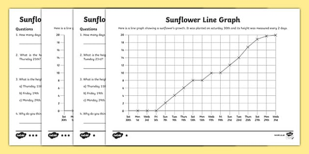 Sunflower Line Graph Worksheet - line graph worksheet, line graph, sunflowers growth, recording growth, ks2 maths worksheet, charts, graphs, ks2 numeracy