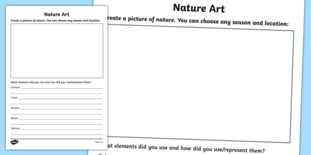 Nature Art Activity Sheet, worksheet