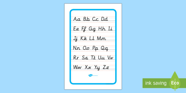 IKEA Tolsby Cursive Alphabet Letter Formation Poster Upper and Lower Case - ikea tolsby, frame, cursive, alphabet, letter formation, poster, display