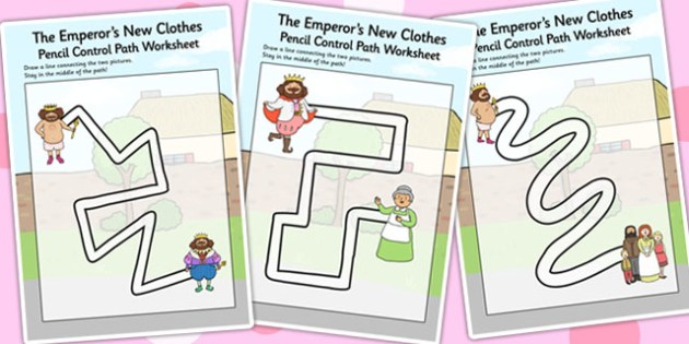The Emperor's New Clothes Pencil Control Path Worksheets - stories