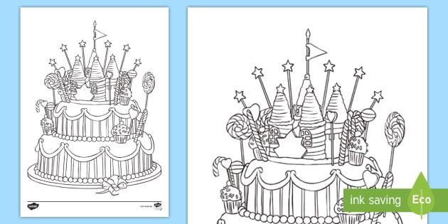 New Geburtstagskuchen Ausmalbild Essen Malen Geburtstag Geschenk
