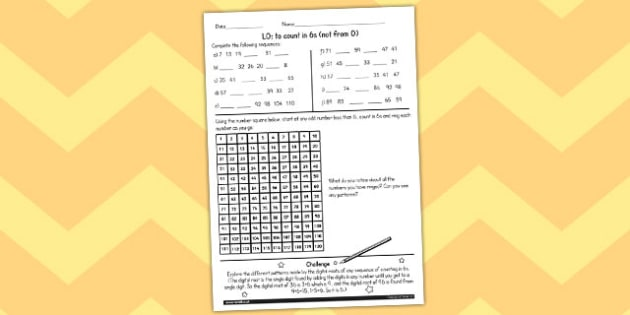 Counting in 6 Not From 0 Worksheet - counting, worksheet, 6, math