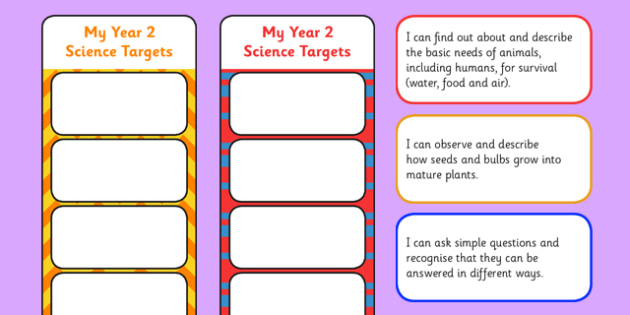 2014 Curriculum Year 2 Science Assessment Bookmarks and Cut Outs