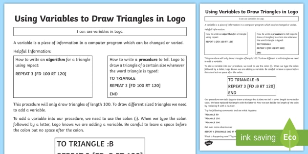 Using Variables to Draw Triangles in Logo Worksheet / Activity