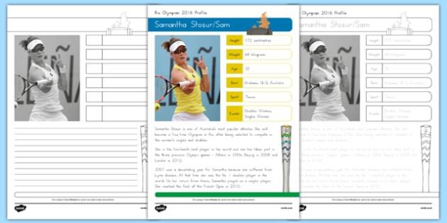 Australian Rio Olympian Samantha Stosur Handwriting Practice Worksheet / Activity Sheets-Australia, worksheet