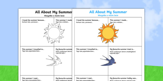 All About My Summer Worksheet / Activity Sheet Polish Translation-Polish-translation, worksheet