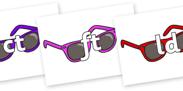Final Letter Blends on Sunglasses - Final Letters, final letter, letter blend, letter blends, consonant, consonants, digraph, trigraph, literacy, alphabet, letters, foundation stage literacy