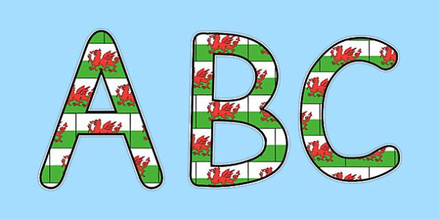 Welsh Display Lettering Flag - displays, letters, flags, letter