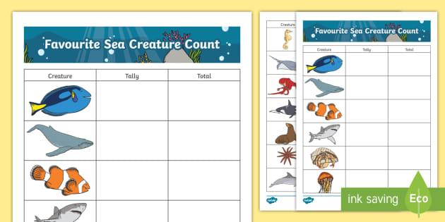 Favourite Sea Creatures Tally Worksheet
