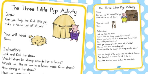 The Three Little Pigs Materials Activity Cards - australia, cards