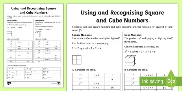 Using and Recognising Square and Cube Numbers Worksheet / Worksheet - A