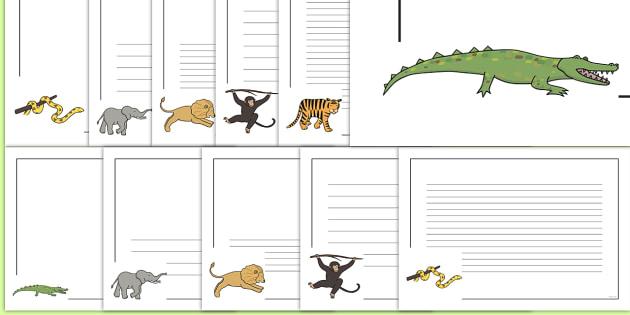 Jungle Animal Themed Page Borders - walking through the jungle, animals, story, book, page border, border, writing template, writing aid, writing, jungle, animal, lion, tiger, elephant, snake monkey, crocodile