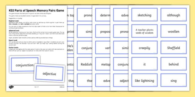 KS2 Parts of Speech Memory Pairs Game