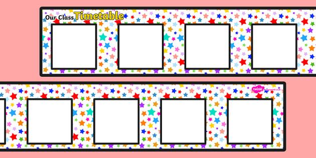 Large Multicoloured Stars Themed Visual Timetable Display - timetable