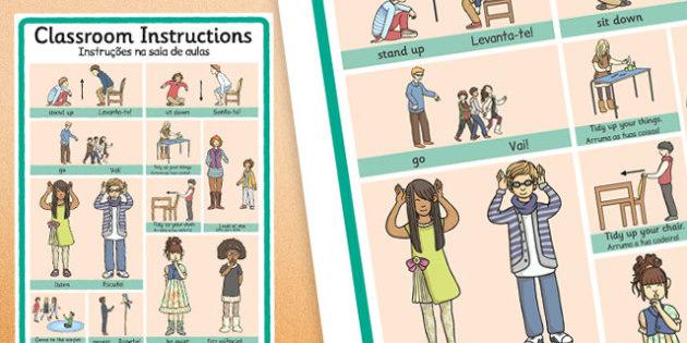 Instruções na sala de aulas Portuguese Translation - portuguese, classroom instructions, word grid, word, grid