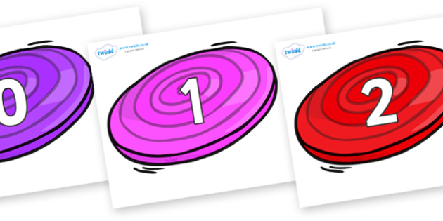 Numbers 0-31 on Frisbees - 0-31, foundation stage numeracy, Number recognition, Number flashcards, counting, number frieze, Display numbers, number posters