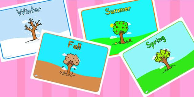 Editable Class Group Signs Four Seasons - season, sign, labels