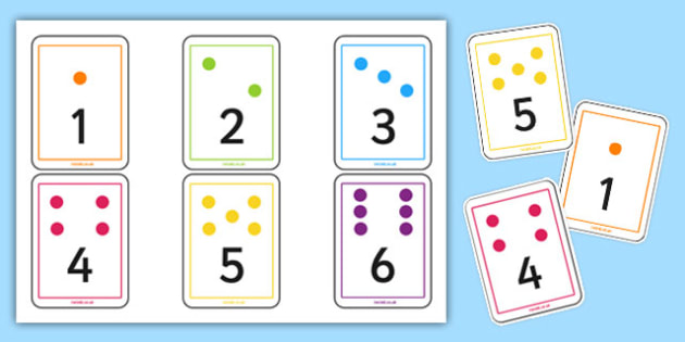 1 to 6 Dice Number Playing Cards - die, dice, 6, six, cards