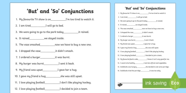But' And 'So' Conjunctions Worksheet (teacher Made)