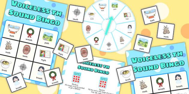 Final Voiceless 'th' Sound Spinner Bingo - th sound, spinner, bingo