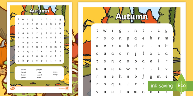 Autumn Wordsearch - seasons, weather, word search, word games
