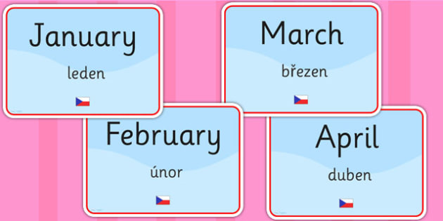 Months of the Year Signs EAL Czech Version - language, display