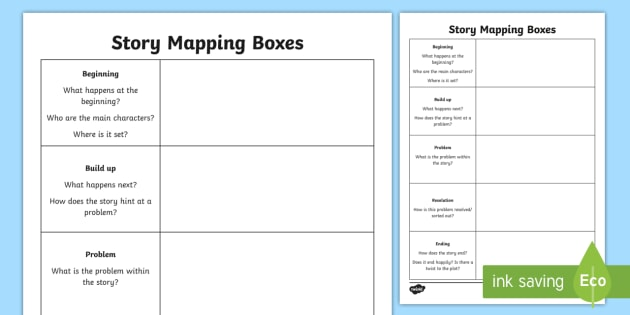 Story Mapping Boxes Worksheet Story Mapping Planning A