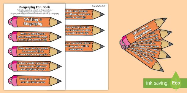 Pencil-Themed Biography Writing Prompt Fan - Criteria, Walt