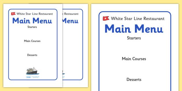 the titanic editable restaurant menus the titanic resources