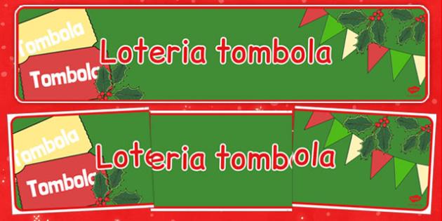 Świąteczny banner Loteria tombola po polsku - kiermasz, zima