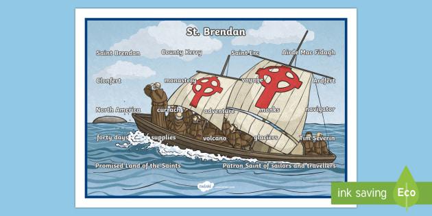 Saint Brendan the Navigator Word Mat-Irish - Ireland, The Land of Saints and Scholars,early christian Ireland,Irish saints, monastic Ireland, st.