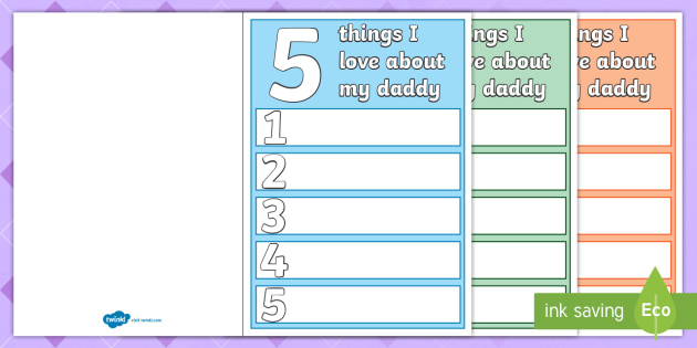 5 things i love about dad fathers day card template fathers