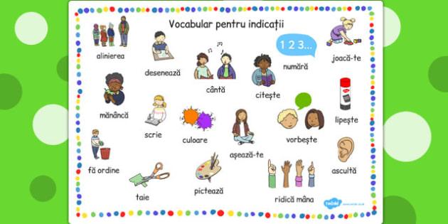 Vocabular cu indicatii din sala de clasa, plansa de cuvinte, Romanian