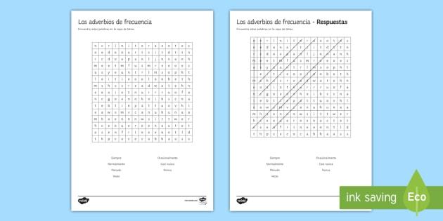 Adverbs of Frequency Word Search Spanish - KS4, Spanish, New Technologies, everyday, life, ordenador, movil, teléfono, tableta, portatil, vide