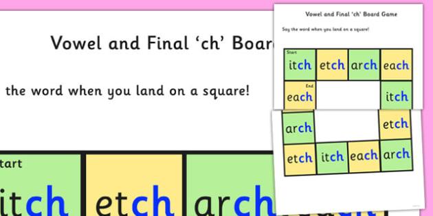 Vowel and Final 'Ch' Sound Board Game - ch sound, board game