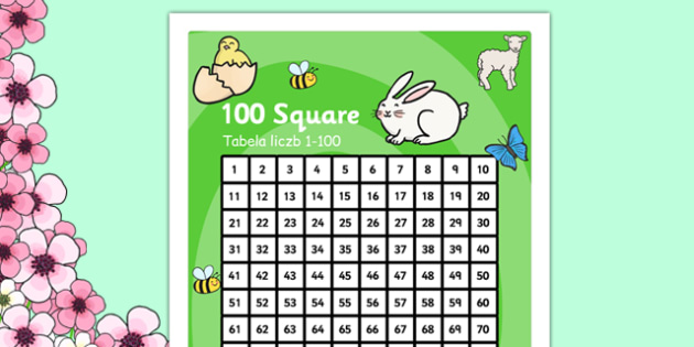 Spring Theme 100 Square Polish Translation - polish, number square, number, square, numeracy, maths, math, spring, spring themed, spring number square, spring 100 square, numbers, counting on, counting back, times tables, addition, subtraction, numbe